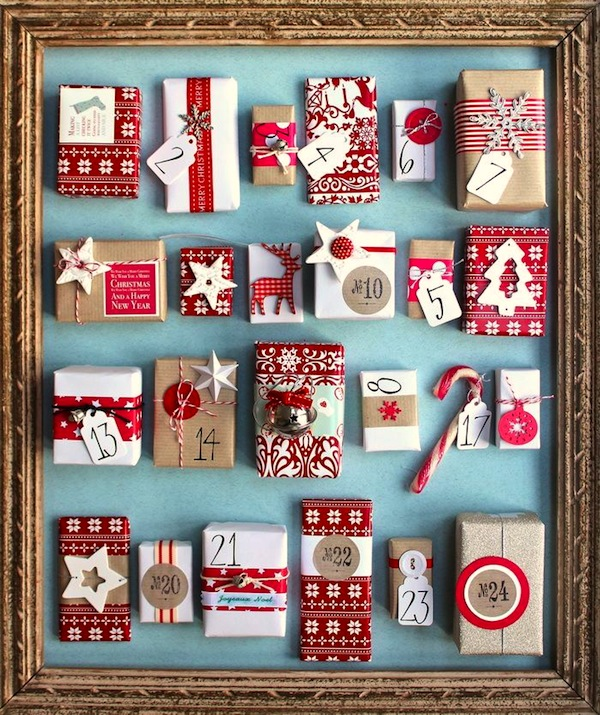 vintage frame surrounds small wrapped gifts for advent calendar - Christmas Countdown Ideas