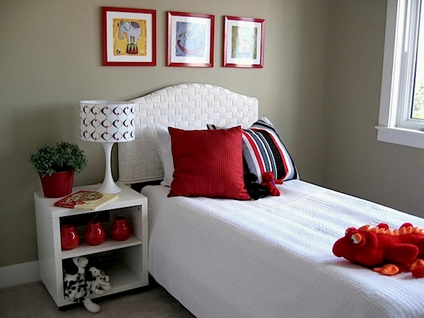 tween girls room in red white and pewter color scheme