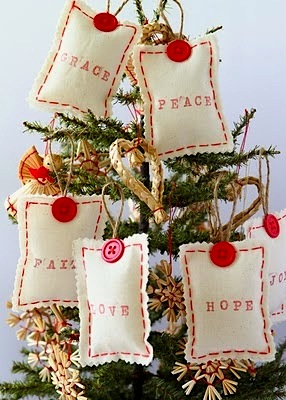 soft stitched fabric ornaments with buttons