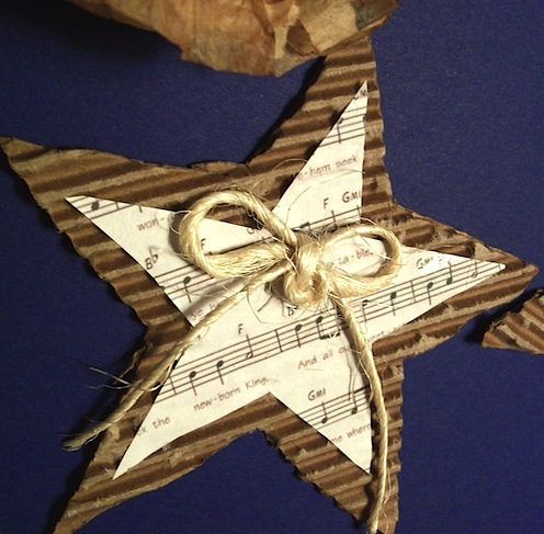 sheet music cardboard and twine star ornament