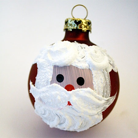 painted santa face on glass ornament