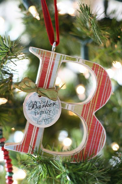 paper covered wood letter christmas ornament
