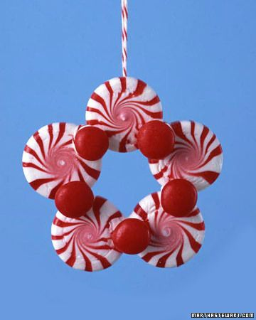 peppermint candy with red hots christmas ornament