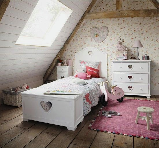 shabby chic girl 39 s room heart shaped cutouts kidspace interiors. Black Bedroom Furniture Sets. Home Design Ideas
