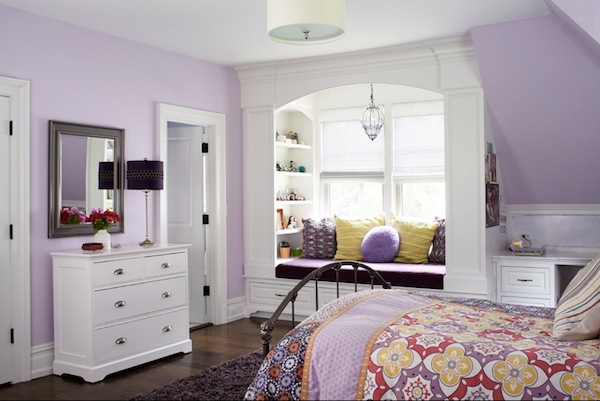 teen girls room with window seat storage