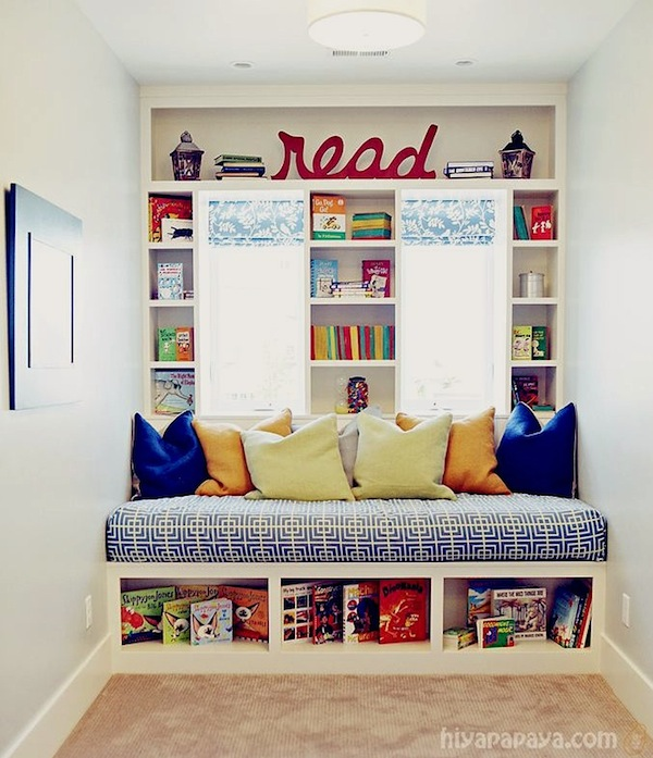 Kids Reading Area With Window Seat Storage