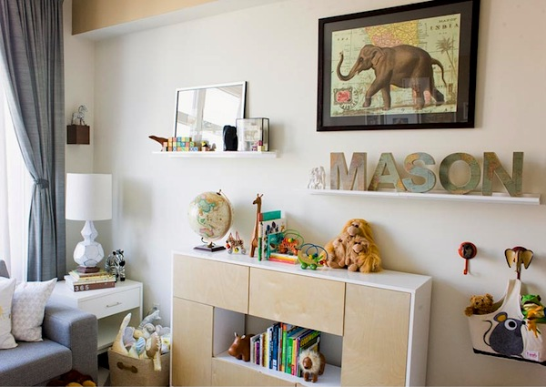 open and closed storage combination in baby nursery