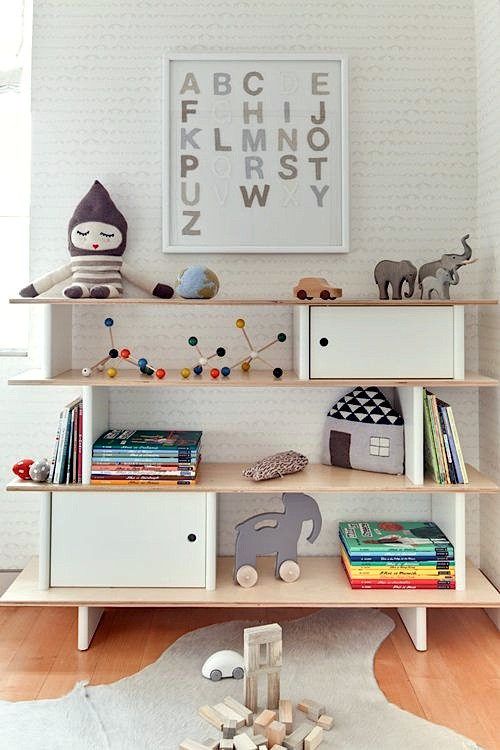 baby nursery bookshelves with open + closed storage