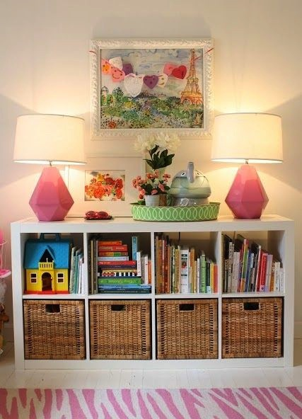 open + closed storage bookcase for baby nursery storage