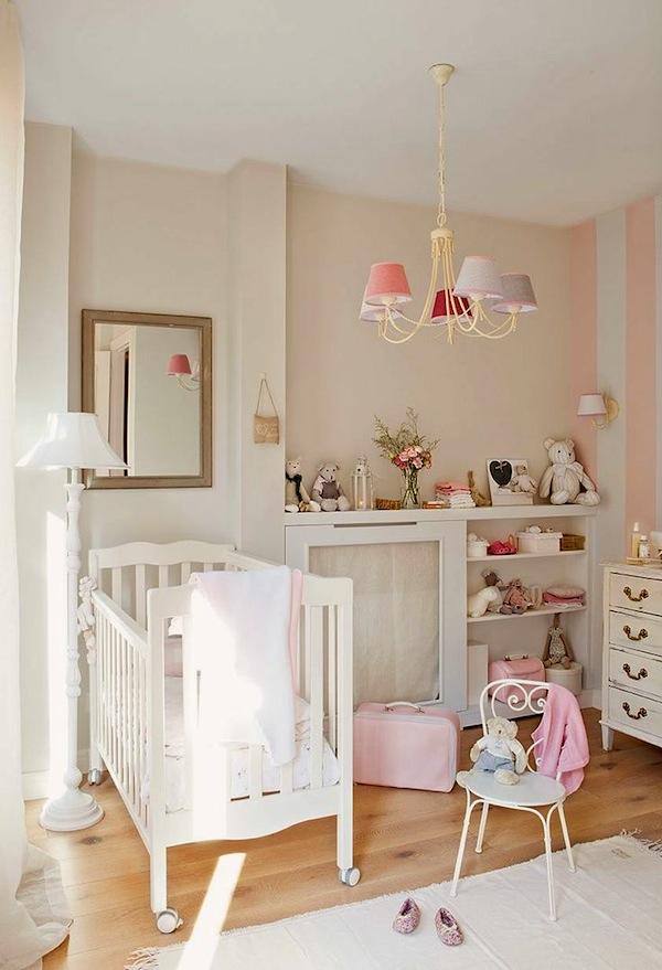 vintage baby nursery storage with open and closed options