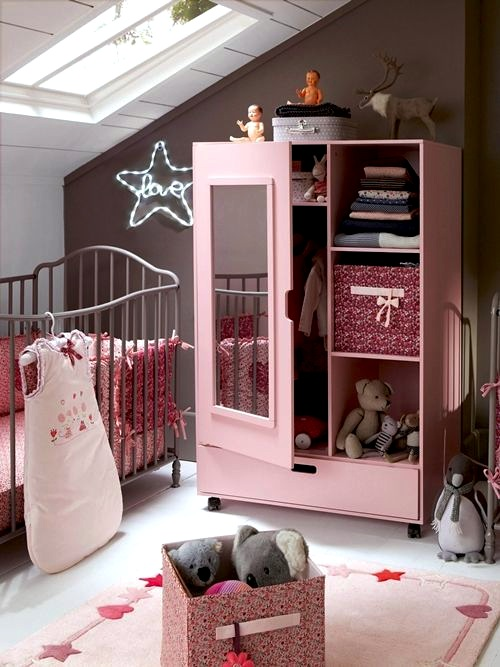 baby nursery storage cabinet with open and closed storage