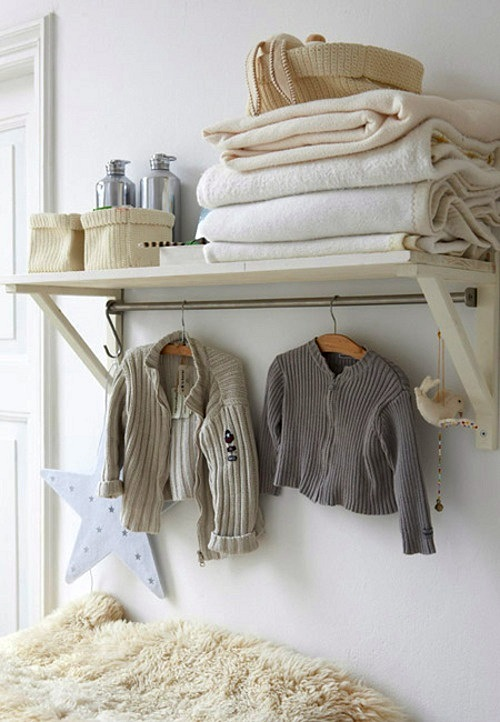 Unique Shelf with Bar for Hanging Clothes