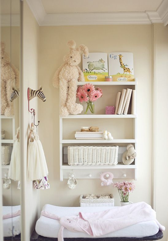 Baby Nursery Storage Ideas With Shelves And Peg Hooks