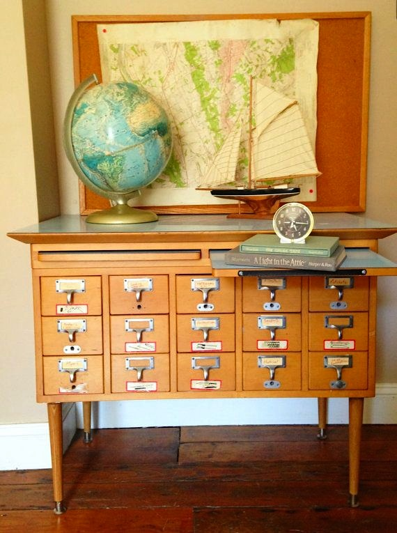 Vintage Library Card Catalog File Drawers