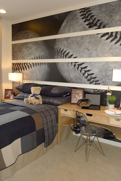 Boys Baseball Themed Room With Oversize Wall Art