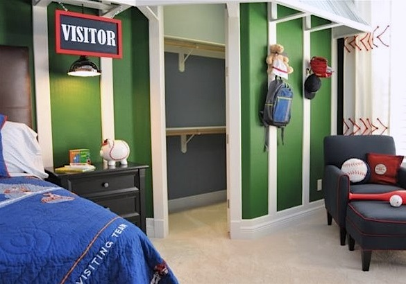 Boys baseball room with locker closetMore Boys  Baseball Themed Rooms. Baseball Bedroom. Home Design Ideas