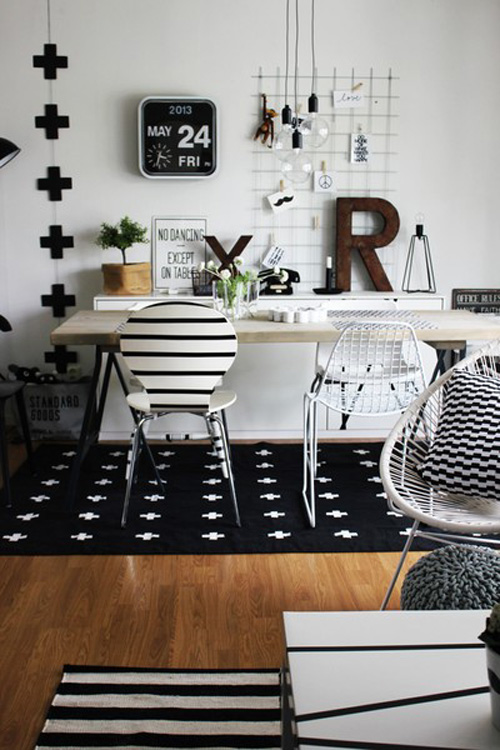 Black White Pattern Rug For Teen Girls Study Area