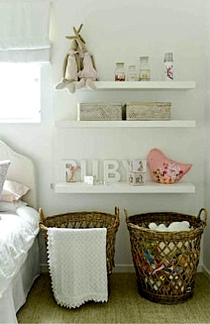 toddler room storage ideas with baskets and low shelves