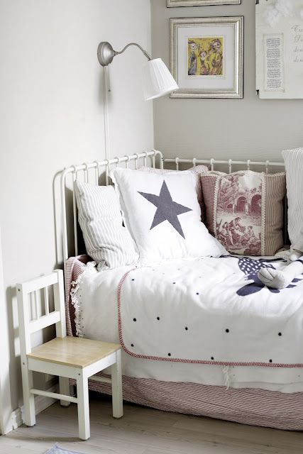 star pillow in toddler room bedding