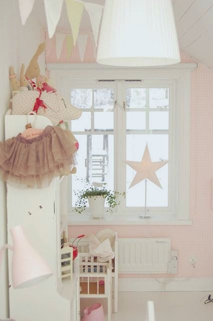star decor in toddler room window