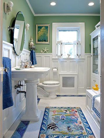 Kid friendly coastal bathroom kids coastal decor for Beach inspired bathroom designs