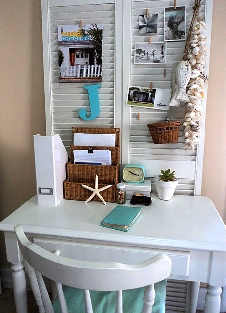 Coral lamp shade - Louvered Shutters And A Place To Hang Vacation Photos Shades Of Aqua