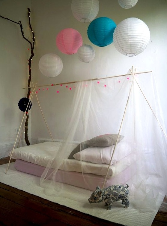 Teen Girls Room Bed Canopy With Tent Poles