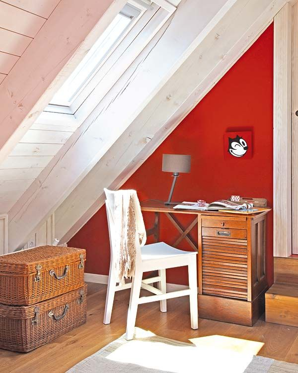 red wall in attic kids room