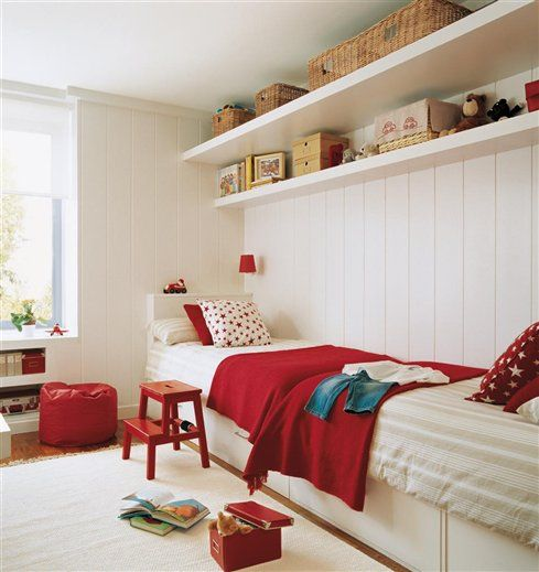 kids room color scheme cherry red and white