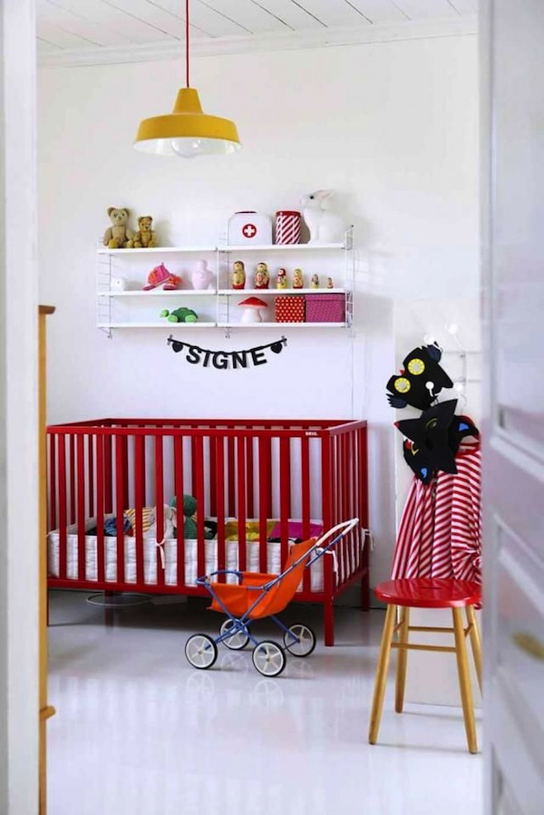 red furniture in baby nursery