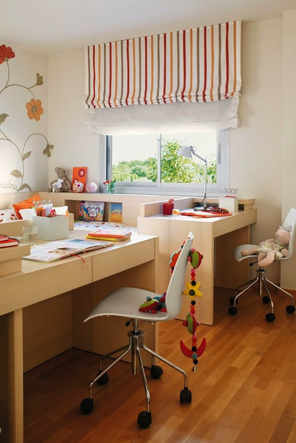 Shared room study desk ideas kids 39 room design kidspace interiors - Table at the end of the bed ...