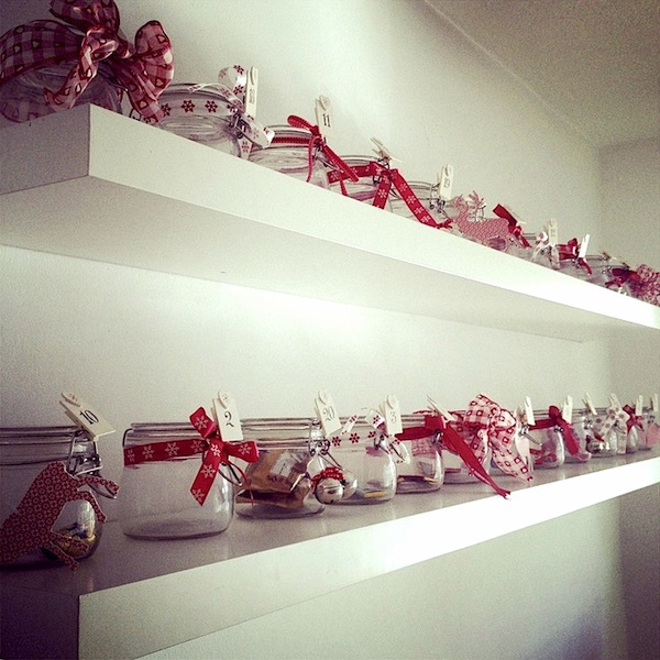 mason jars with ribbons for advent calendar