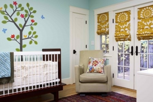 Baby Room Ideas With Hobbled Roman Shade For Window Treatment