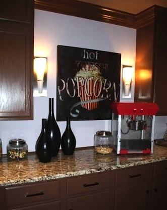 family room ideas for teens and tweens with mini kitchen for snacks and popcorn machine