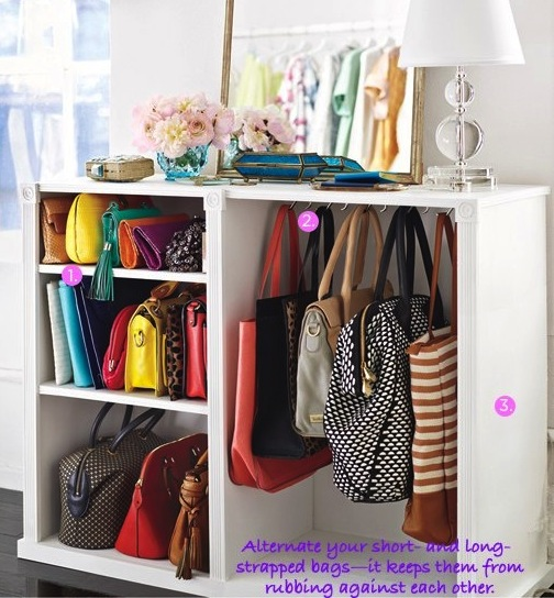 Purse Storage Idea With Shelves And Hanging Hooks